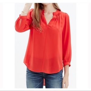 Madewell Red Silk Memory Blouse